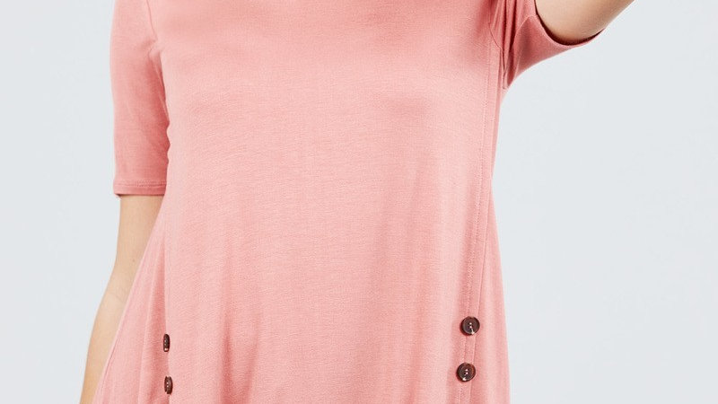 Rose Side Button Detail Tee