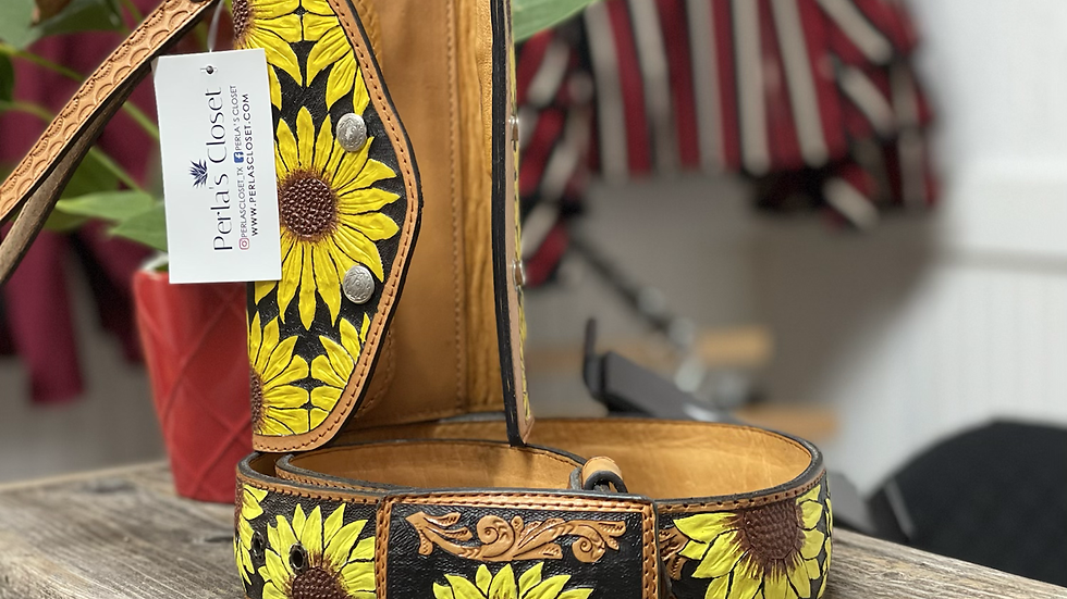 Sunflower Hand Tooled Leather Wallet/Belt Set