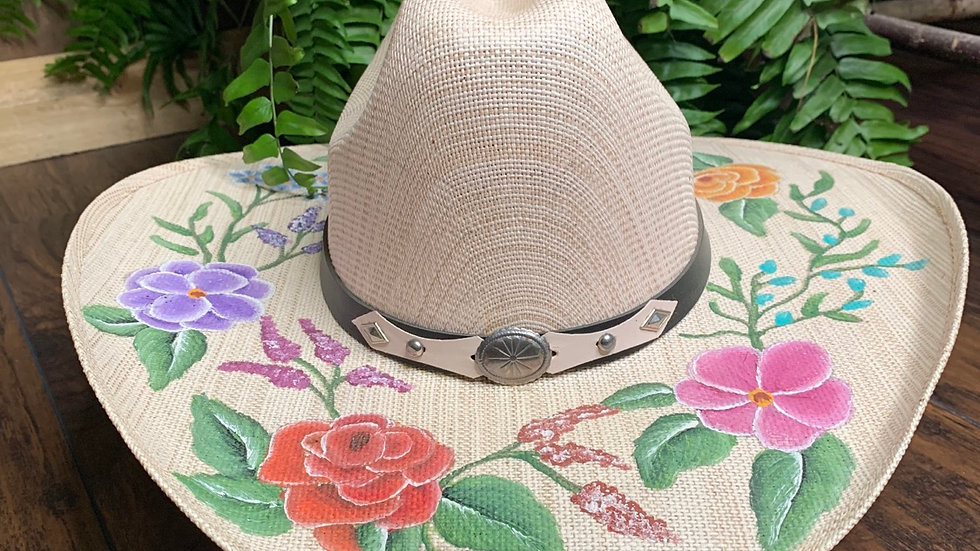 Floral Hand Painted Hat