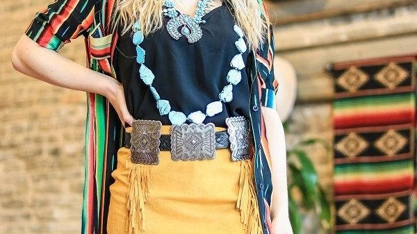 Western Fringe Suede Skirt