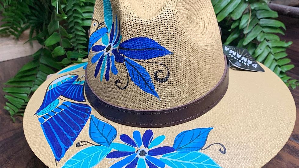 Blue Birds Hand Painted Panama Hat
