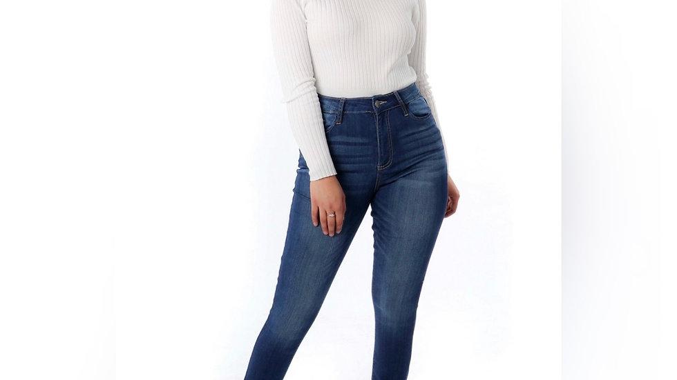 High Waist Cuffed Skinny Jean