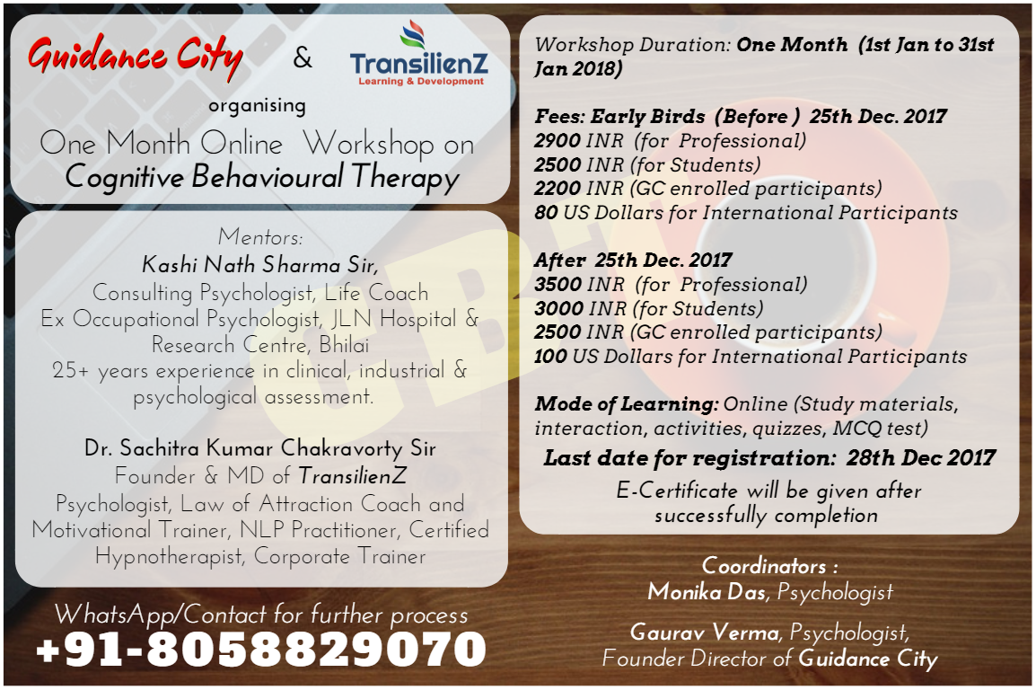 Online Workshop On Cognitive Behavioural Therapy Guidanc City