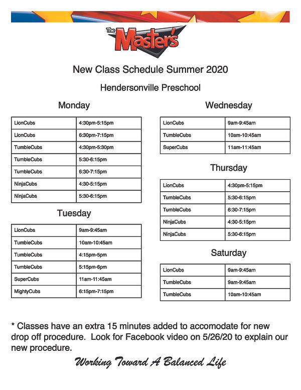 Summer 2020 class schedule Preschool Hvi