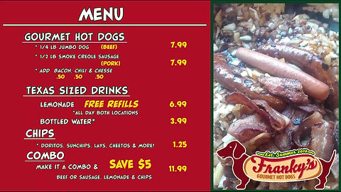 hot dog menu for Franky's gourmet hot dogs