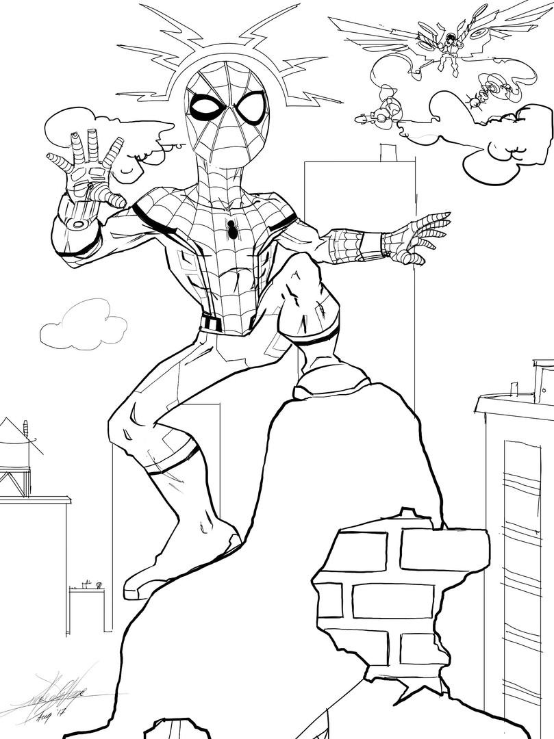 spiderman line work no shade