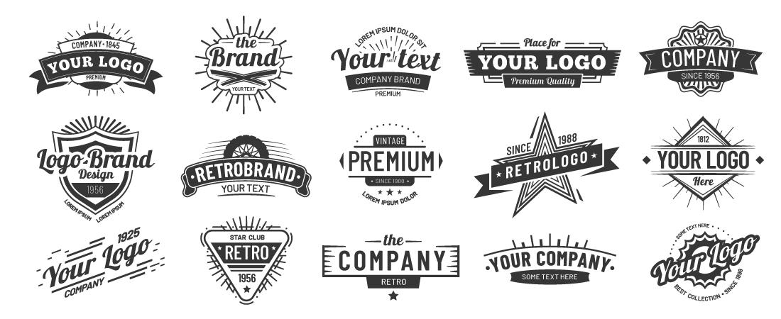 Retro logos from stock