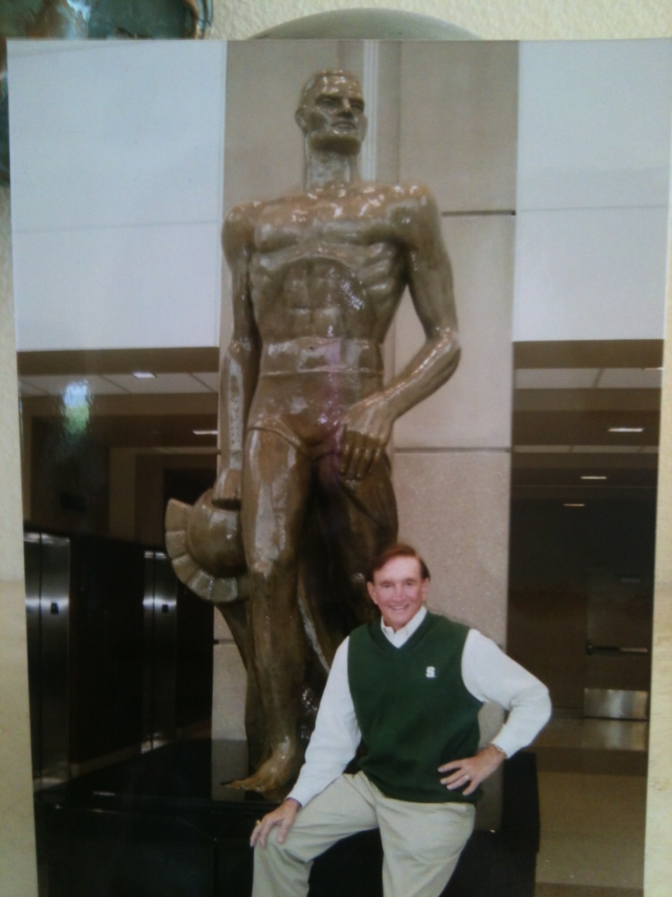 Dr. Jack Beattie and Spartan Statue