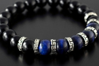 Blue Tiger Eye, Black Onyx & Greek Key Bracelet