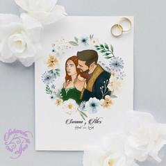 Deseño para voda con nomes en élfico