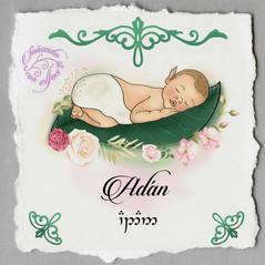 Retrato de bebé con nome en élfico
