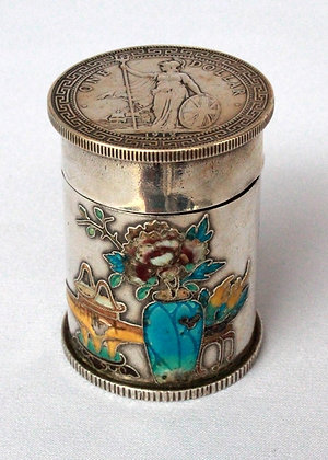 LARGE ANTIQUE SILVER & ENAMEL OPIUM BOX