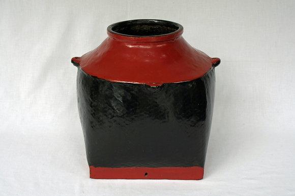 BURMA ANTIQUE BLACK & RED LACQUER SEEDS BASKET