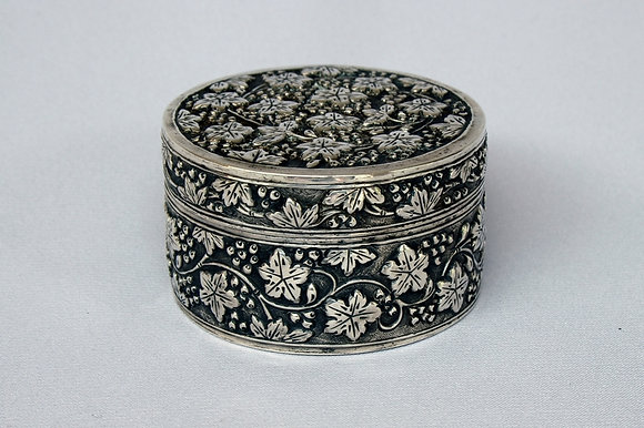 "SIAM CHINESE ANTIQUE SILVER BOX ""VINE"""