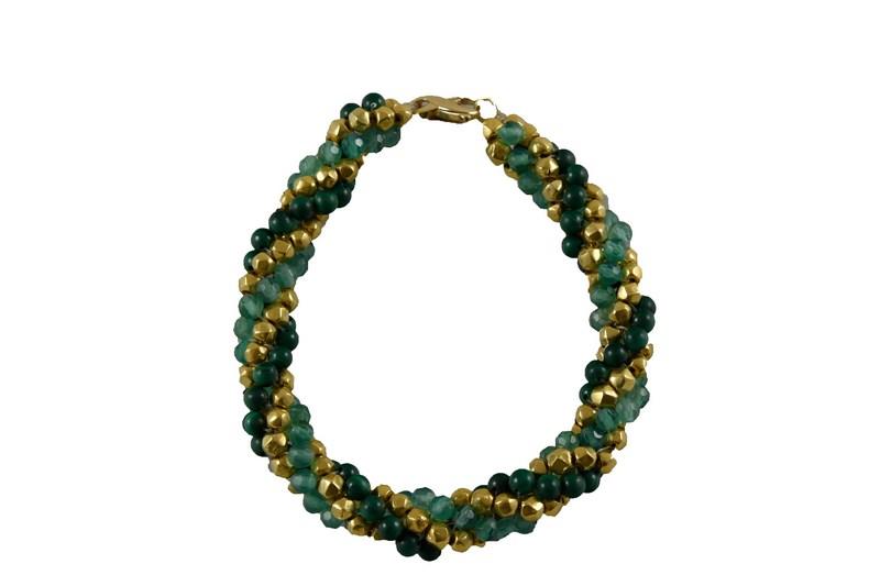 AGATHE, MALACHITE & AFGHANI GOLD TWISTER BRACELET