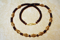 SUMATRA ANTIQUE GOLD & GARNET NECKLACE