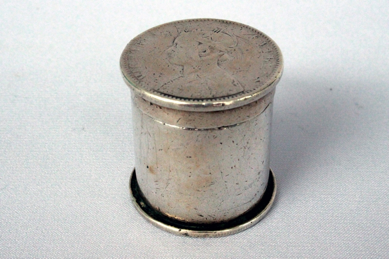 ANTIQUE SILVER OPIUM BOX with VICTORIAN COINS