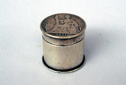 ANTIQUE SILVER OPIUM BOX with FRENCH COINS