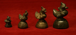 BURMESE BRONZE OPIUM WEIGHT SET OF 4 DUCKS