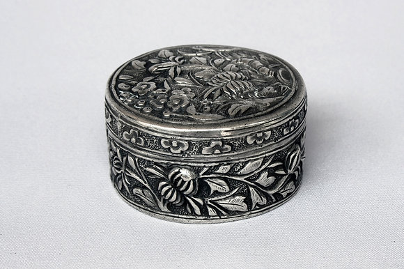 "SIAM CHINESE ANTIQUE SILVER BOX ""4 SEASONS"""