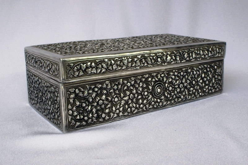 CAMBODIA OLD SILVER LARGE RECTANGULAR BOX