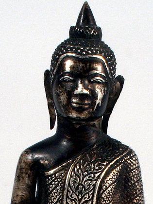KHMER SILVER SITTING BUDDHA 19th Century