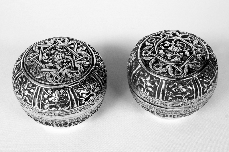 PERANAKAN PAIR OF ANTIQUE SILVER BOXES