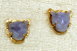 LAVENDER JADE TIGER HEAD STUD EARRINGS