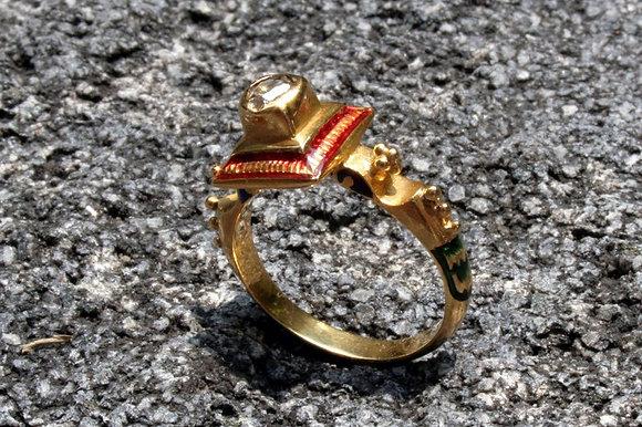 INDIA ANTIQUE DIAMOND & EMAMEL GOLD RING