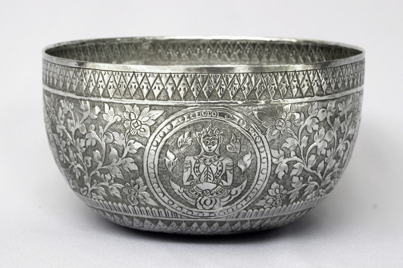 "SIAM ANTIQUE SILVER BOWL ""BUDDHA"""