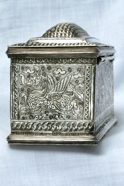 LARGE BURMESE ANTIQUE SILVER WEDDING BOX