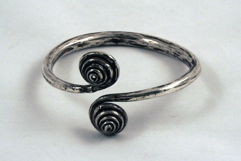 CAMBODIAN DOUBLE LOTUS BUD ANTIQUE SILVER BRACELET