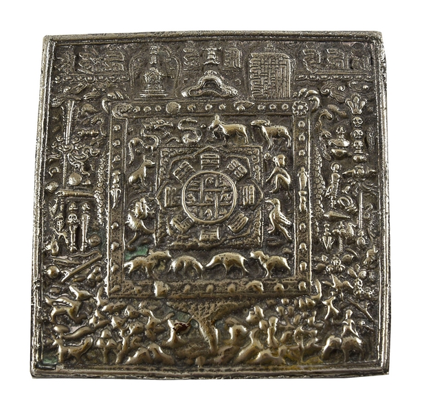 SOLID SILVER ANTIQUE TIBETAN MANDALA