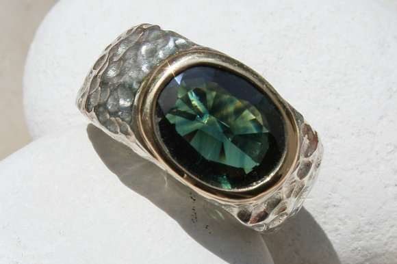 GREEN SAPPHIRE SILVER & GOLD RING