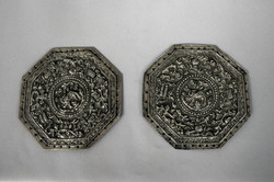 PERANAKAN ANTIQUE SILVER PAIR OF BOLSTER ENDS