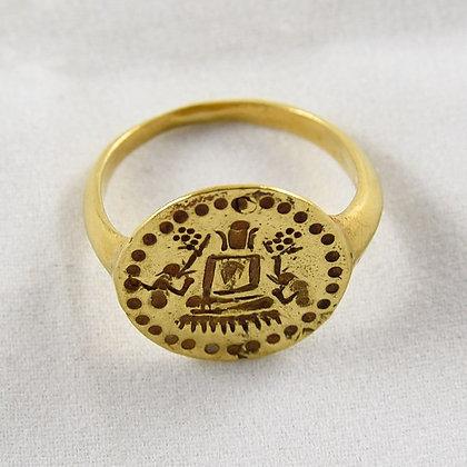 PYU GOLD BUDDHA, ELEPHANT & MONKEY SIGNET RING