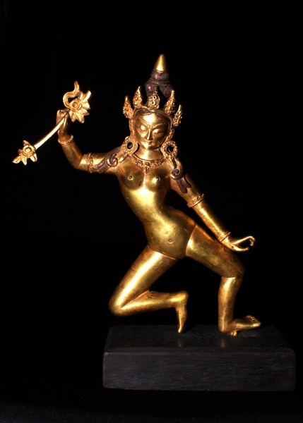 TIBETAN OLD GOLDEN BRONZE DANCING DEITY