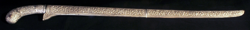 CELEBES ANTIQUE SILVER SWORD WITH RUBIES