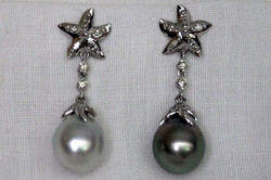 PEARLS & DIAMONDS STAR EARRINGS