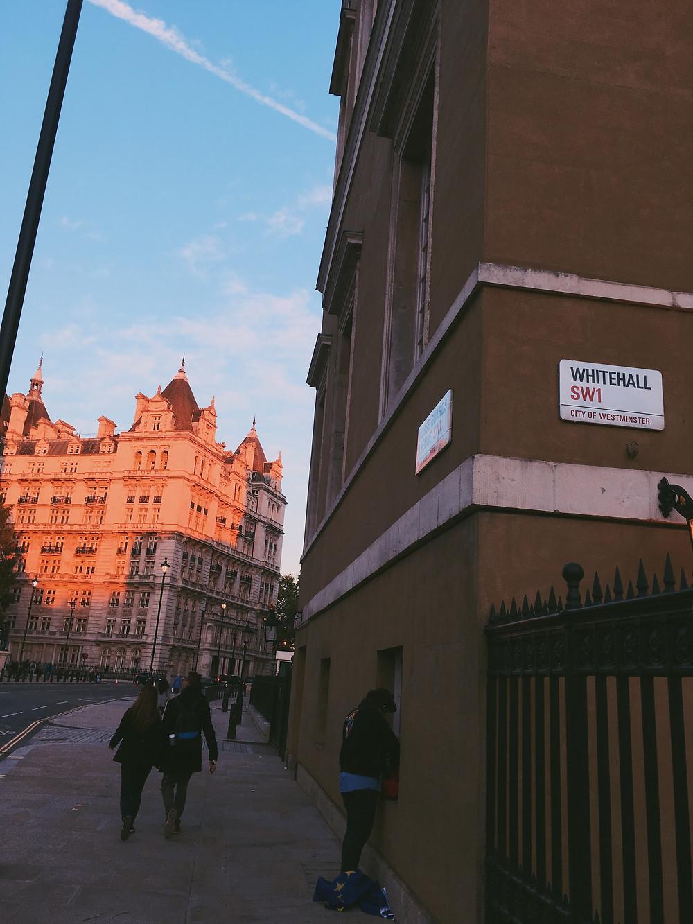 Calming sunset on Whitehall SW1 street sign