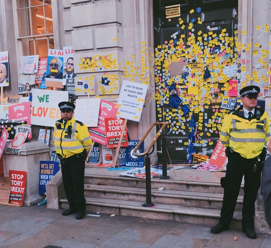 Police dramatically stood by a vandalised Whitehall