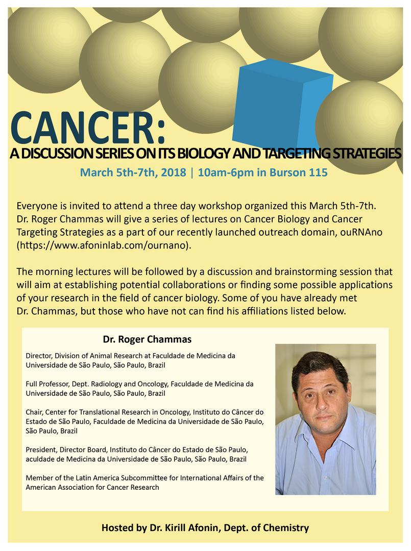Flyer for Dr. Chammas Cancer Workshop