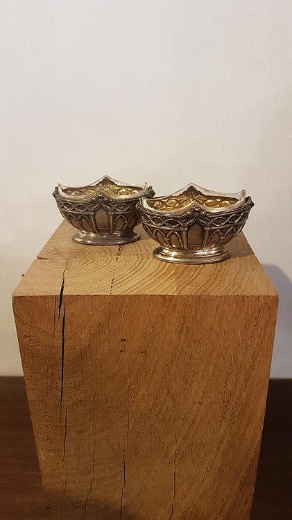 Pair of crystal and silver salt cellars / Paire de salières en cristal et argent