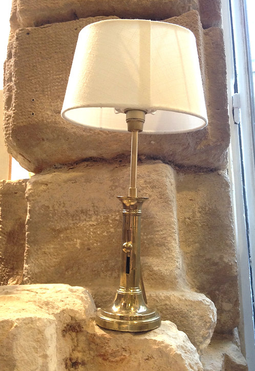 SOLD Golden electric lamp, canvas lampshade/Lampe électrique doré,