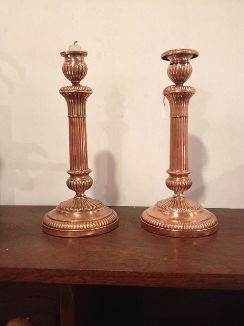 Silver candlesticks/Bougeoirs en cuivre