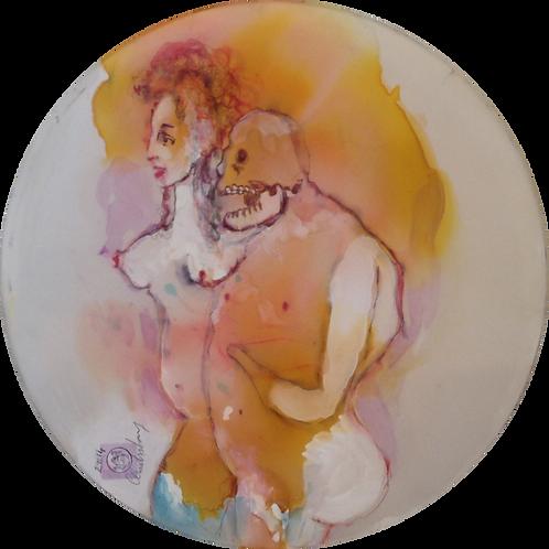 Cendres Lavy, Eros et Thanatos, peinture sur soie
