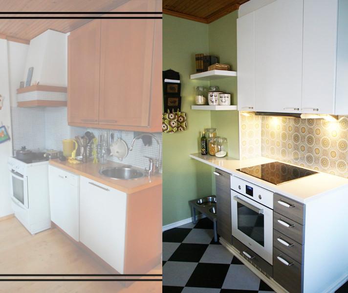Keittiö, ennen ja jälkeen