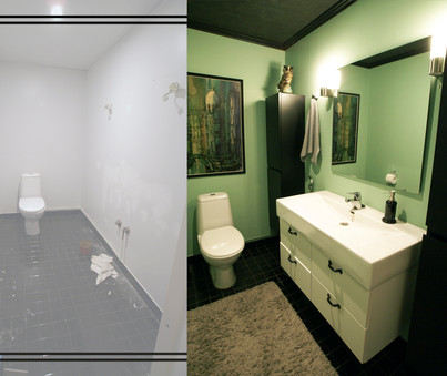 WC, ennen ja jälkeen