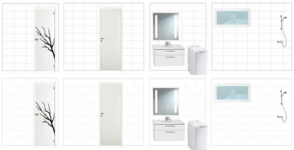 Kylpyhuone, seinäprojektio laattajaoista