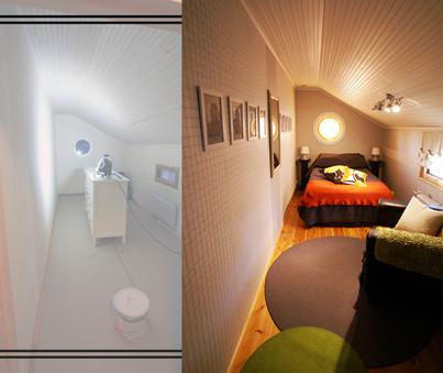 Makuuhuone, ennen ja jälkeen